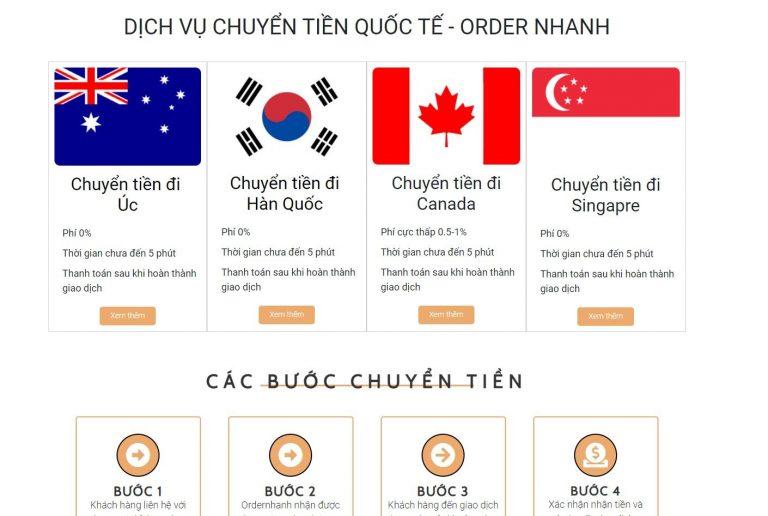 dịch vụ chuyển tiền của Ordernhanh